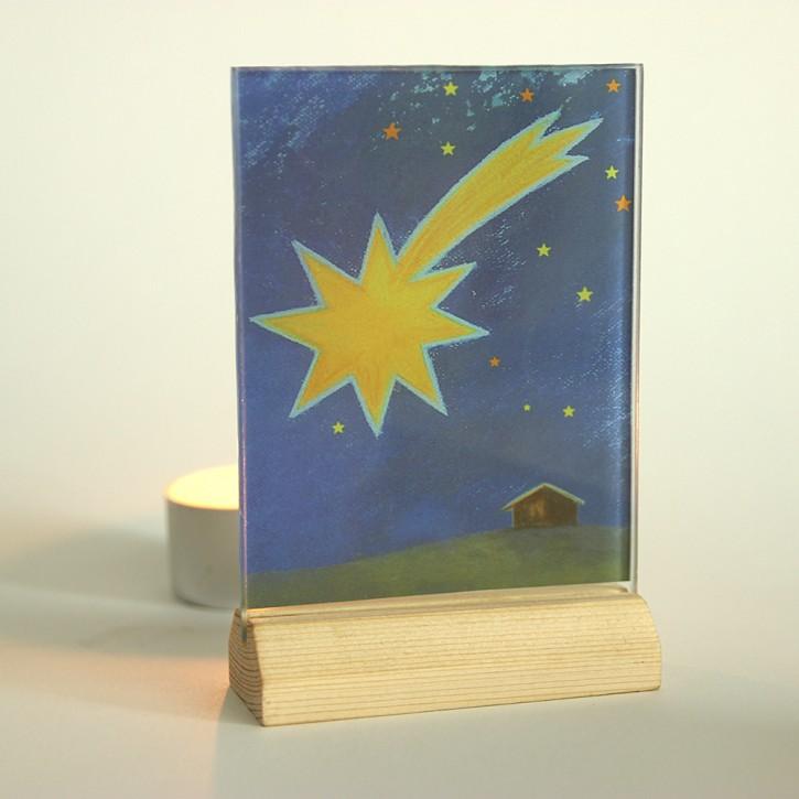Lichtsymbol auf Glas: Weihnachten