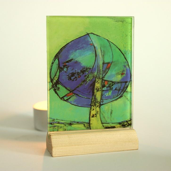 Lichtsymbol auf Glas: Lebensbaum