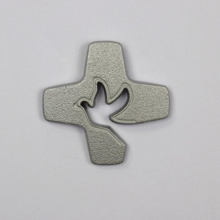 Pin Tauben-Kreuz silber