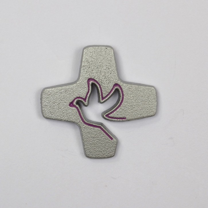 Pin Tauben-Kreuz violett