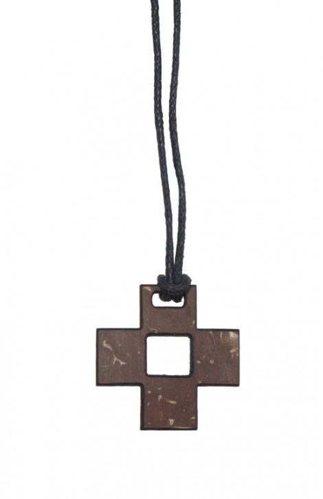 Anhänger: Quadro-Kreuz (Kokosschale)