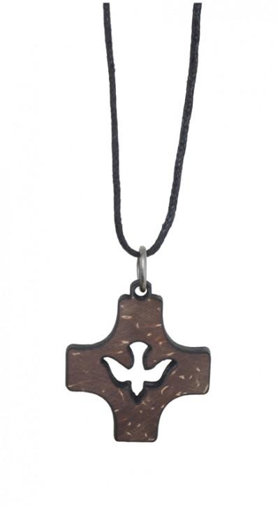 Anhänger: Kreuz Taube (Kokosschale)