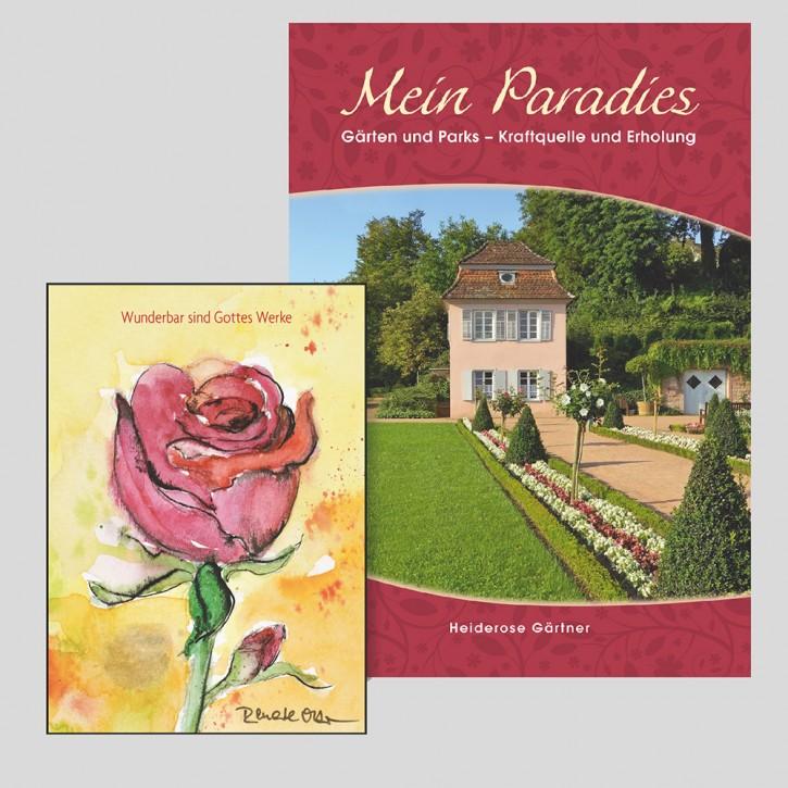 Kombi: Lichtblick(e) Mein Paradies + Symbol-Sticker Rose