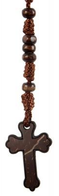 Rosenkranz-Kette mit Kreuz (Kokosschale)